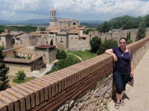 Walking the wall around Girona.